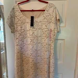 Tiana B Ivory Floral Lace Midi Dress Plus Size